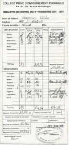 Bulletin de notes du 3ème trimestre de l'année 2010-11