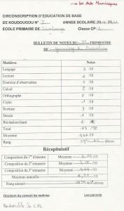 Bulletin de notes du 3ème trimestre pour l'année 2010-11